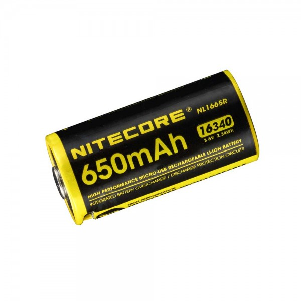 Nitecore 16340 Akku 650mAh Micro-USB